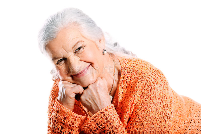 Grey haired stock image