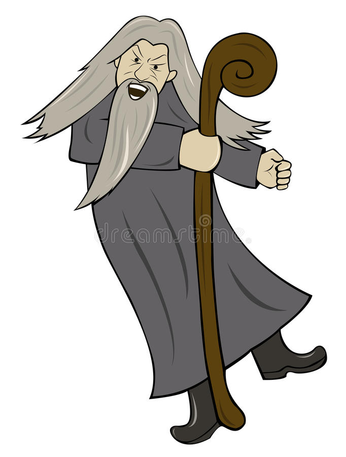 Grey Haired Wizard com desenhos animados de madeira do pessoal ilustração royalty free