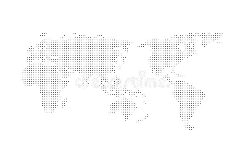Grey halftone dotted world map vector illustration flat design asia in center. Grey halftone dotted world map vector illustration flat design asia in center royalty free illustration