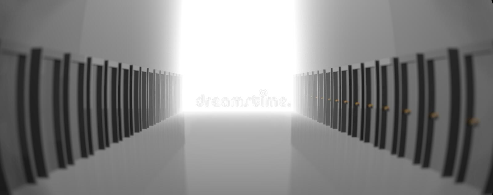 Grey hallway with many doors, leading to the light in the end. 3D rendering. Can mean the right or the only way, or a better future vector illustration