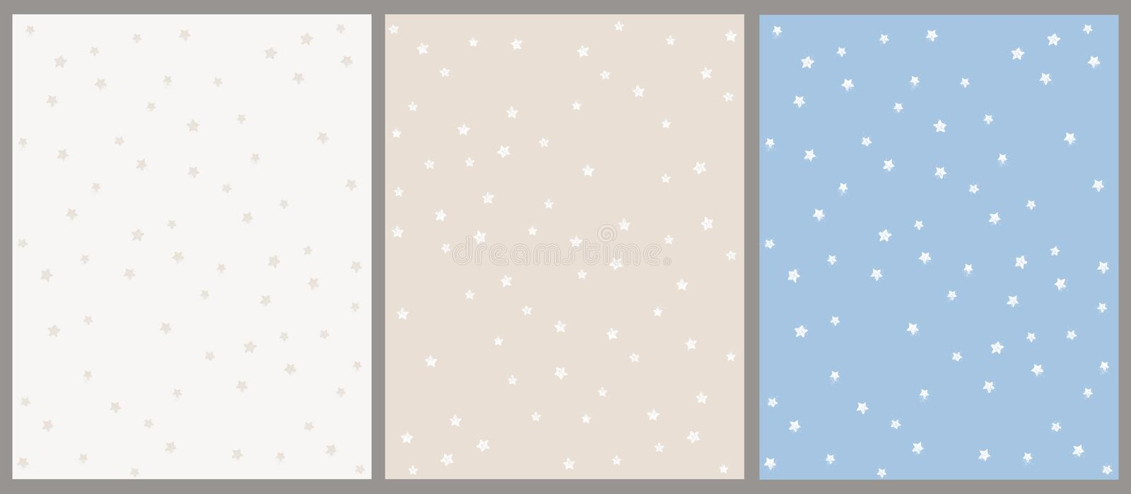 Hand Drawn Star Vector Pattern Set. Beige and Blue Backgrounds with White Stars. royalty free stock photos