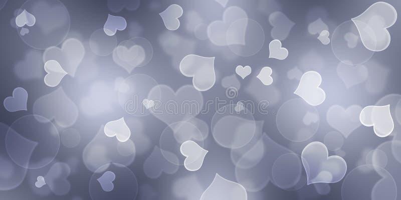 Grey Heart Background,Heart Bokeh Background, royalty free illustration