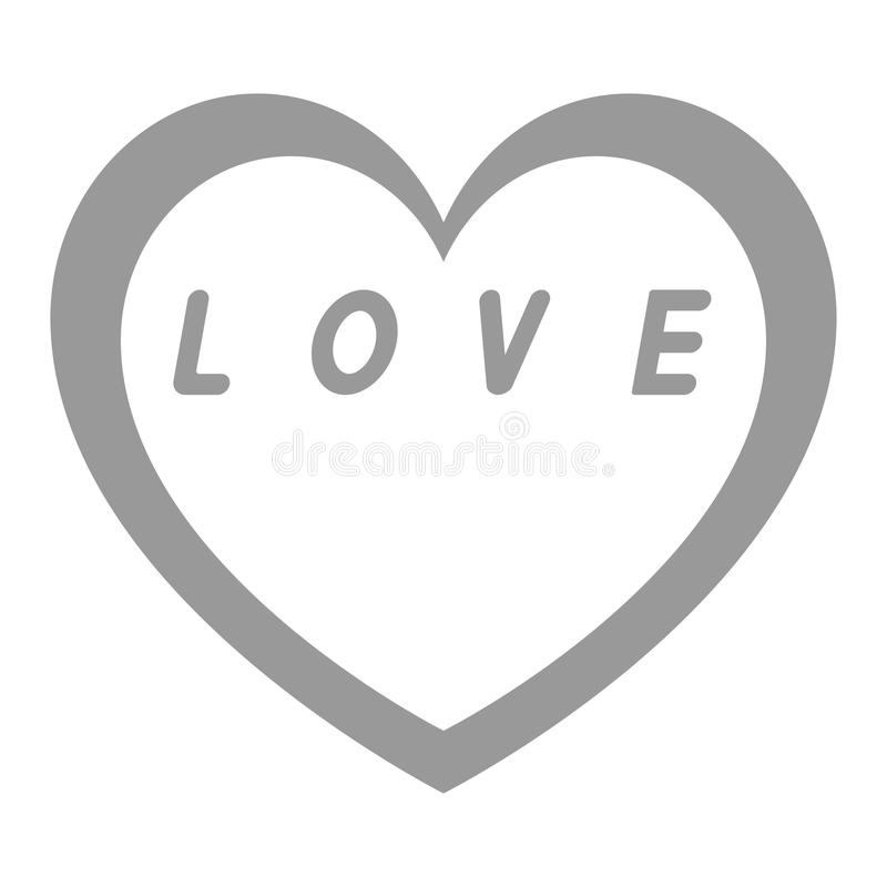 Grey heart for womens day with grey path and white fill a grey fill caption. Grey heart for womens day with grey path and white fill a grey fill caption - icon stock illustration
