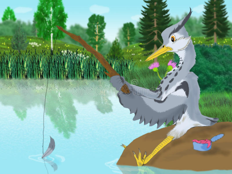 Download Grey heron stock illustration. Image of graphics, nature - 34832179