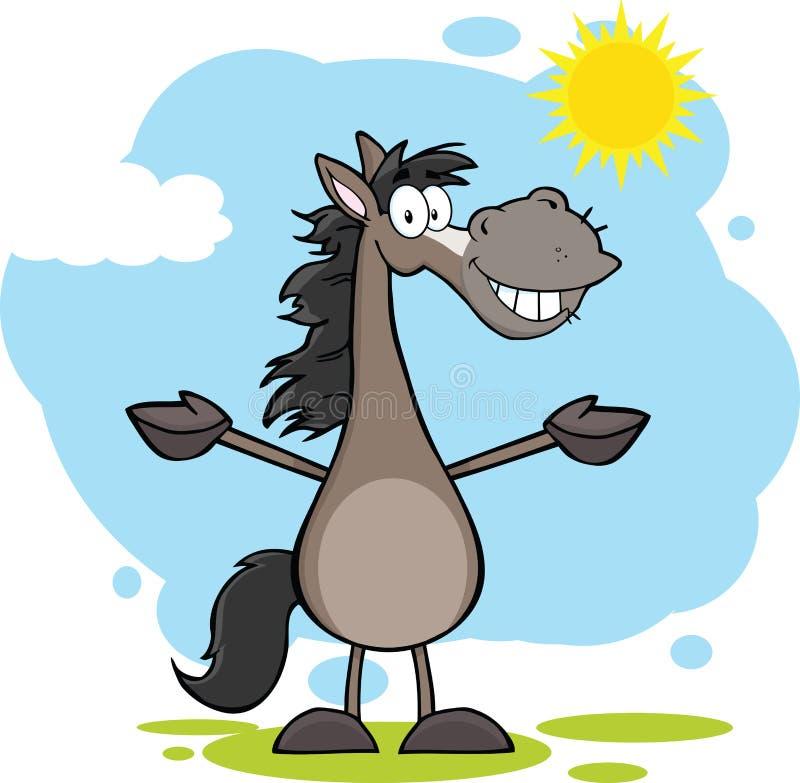 Grey Horse Cartoon Mascot Character com os braços abertos sobre a paisagem ilustração do vetor