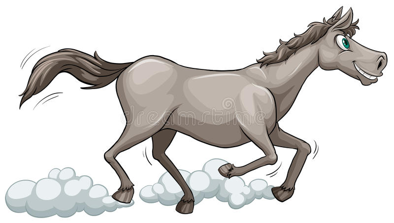 Grey horse running stock illustration