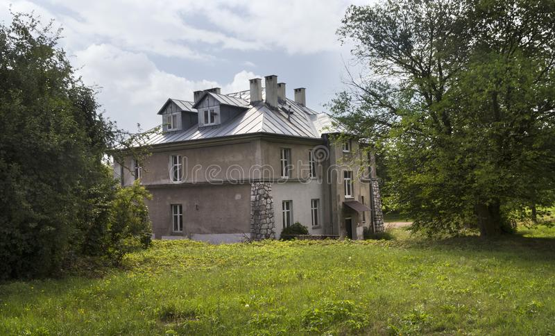 The Grey house, one of the monument of the former german concentration camp Plaszow, Poland royalty free stock images