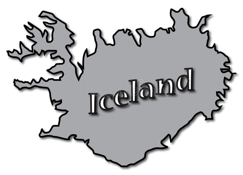 Grey Iceland On Map vektor illustrationer