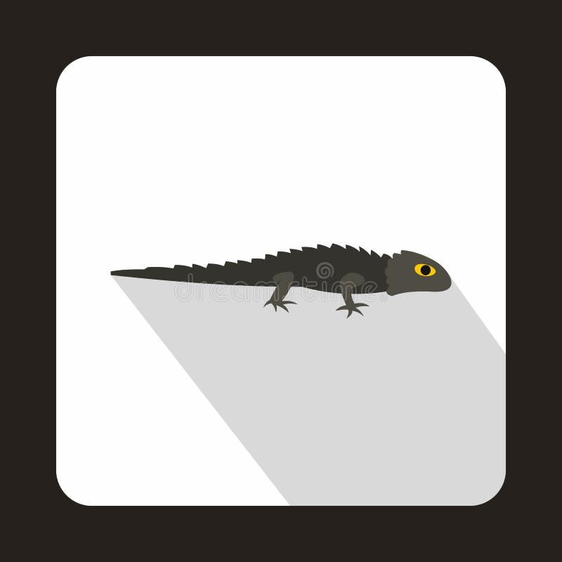 Grey iguana icon, flat style. Grey iguana icon in flat style with long shadow. Reptiles symbol stock illustration