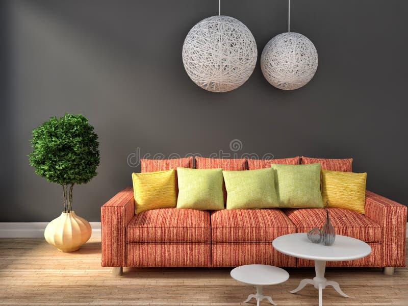 Grey interior with pink sofa. 3d illustration.  royalty free illustration