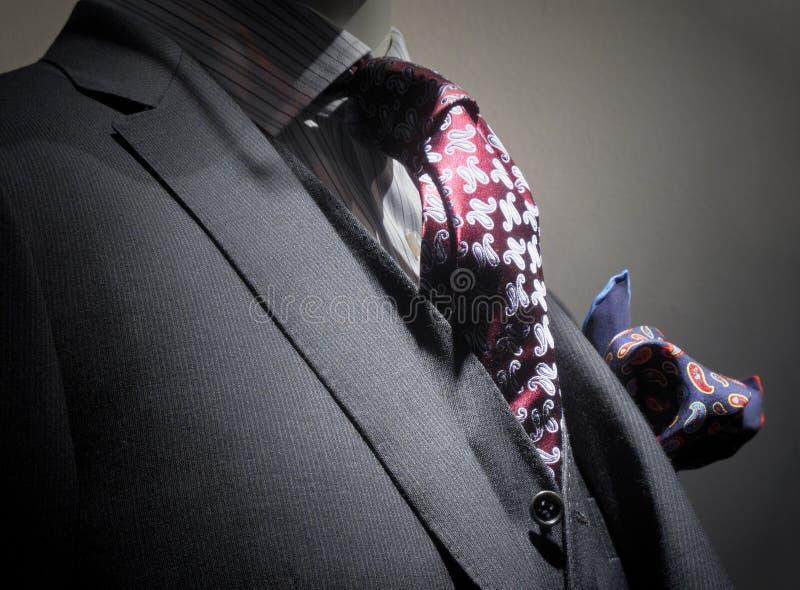 Grey jacket, vest, tie and handkerchief stock photo