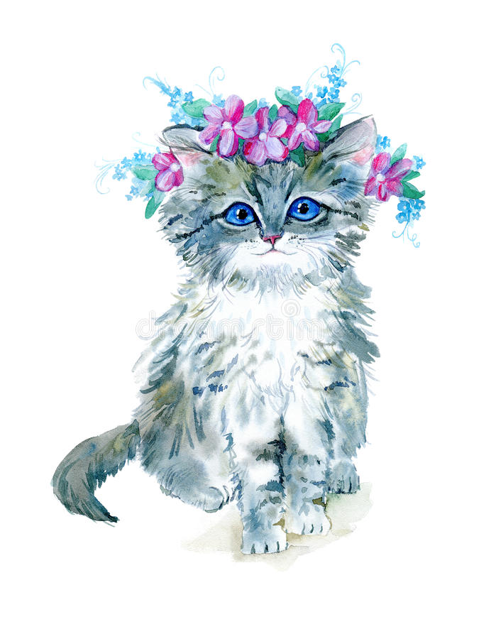 Grey kitty with a flower wreath. Watercolor hand drawn illustration.Postcard with cat on a white background royalty free illustration