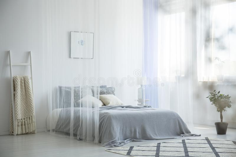 Grey knit blanket placed on the bed with canopy in white hotel r. Oom interior window with drapes, patterned carpet and decorative ladder stock photo