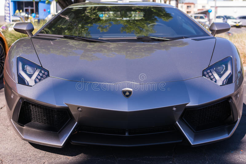 Grey Lamborghini on exhibition parking at an annual event Supercar Sunday Lamborghini Day stock photo