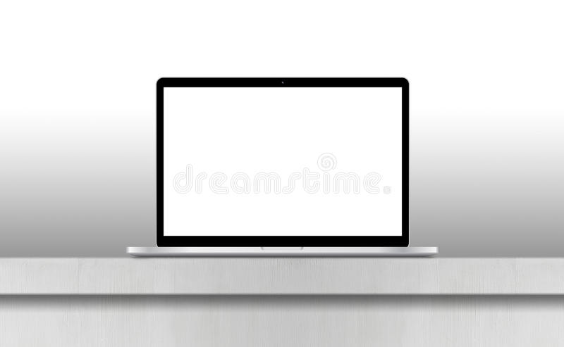 Grey laptop with blank screen on desk vector illustration