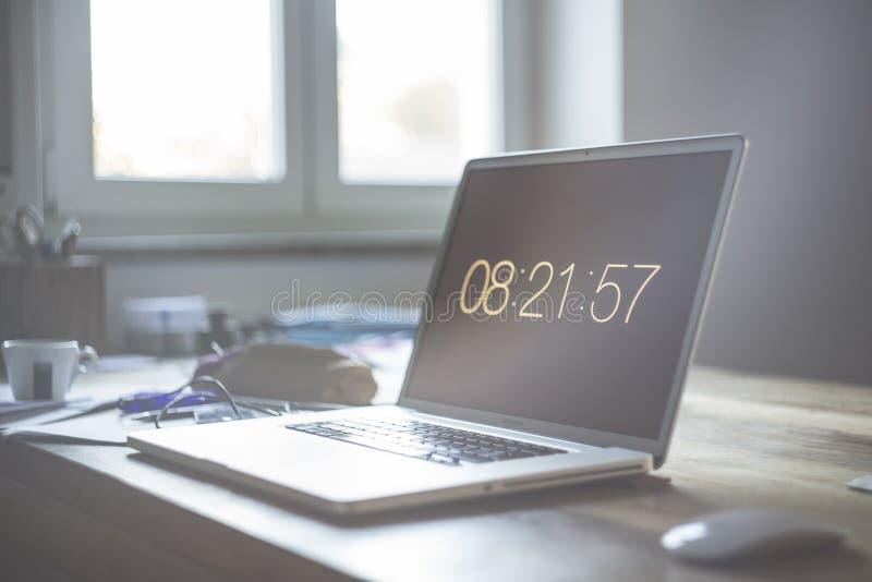 Grey Laptop Computer Set At 08:21:57 Free Public Domain Cc0 Image