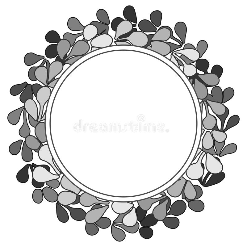 Grey wreath vector frame isolated on white background royalty free illustration