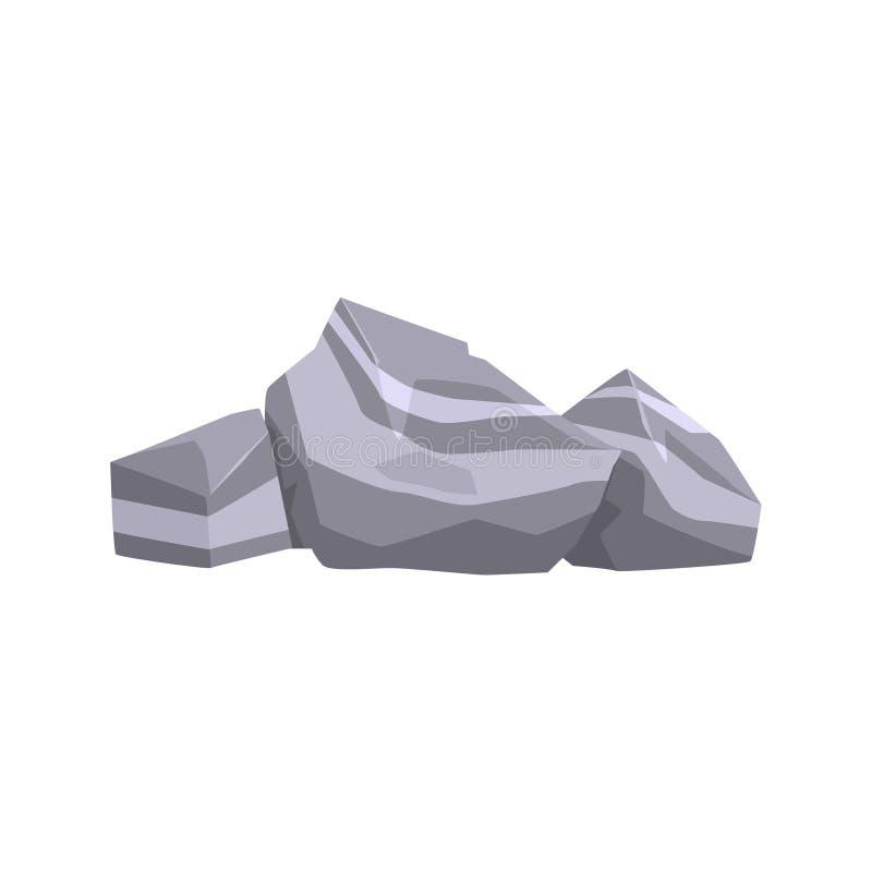 Grey Layered Rock Isolated Element degli scopi d'abbellimento del gioco dell'istantaneo di Forest Landscape Design For The illustrazione vettoriale