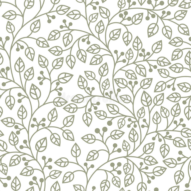 Grey leaves ornament stock illustration