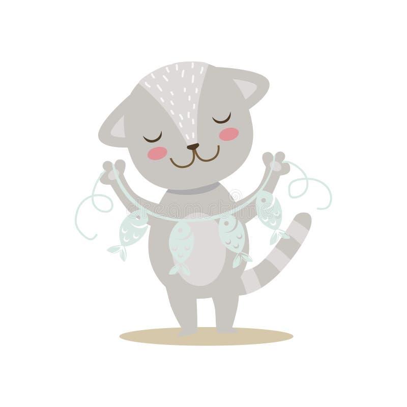 Grey Little Girly Cute Kitten con carta Garland On String, illustrazione di situazione di vita del carattere dell'animale domesti royalty illustrazione gratis