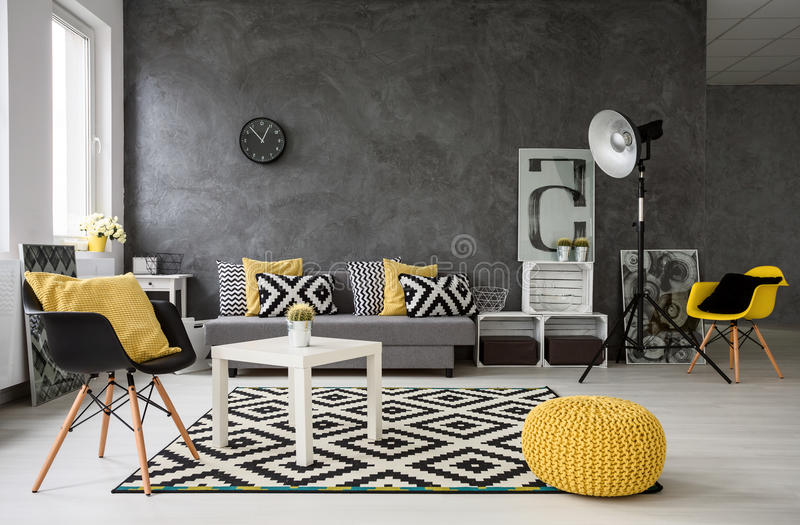 Grey Living Room With Yellow Details Stock Image Image Of Indoor Lifestyle 69044155