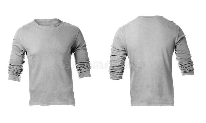 Grey Long Sleeved Shirt Template vazio dos homens foto de stock