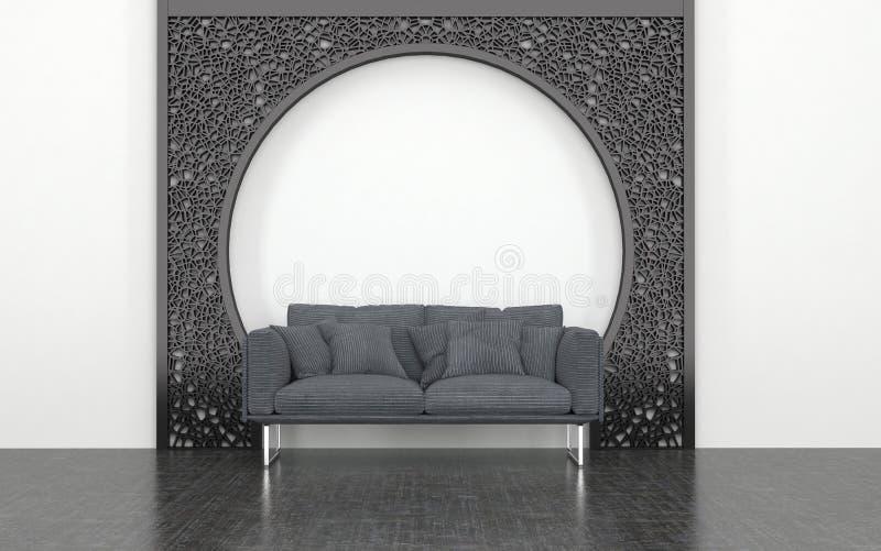 Grey Love Seat na frente do arco decorativo do metal ilustração stock