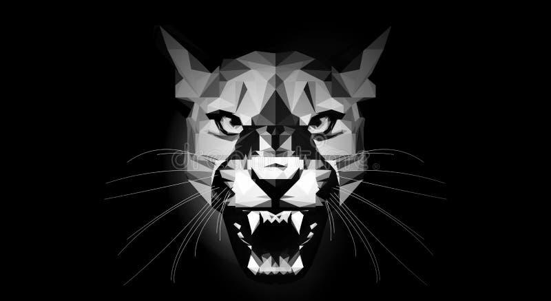 Grey Low Poly Puma no fundo preto ilustração do vetor