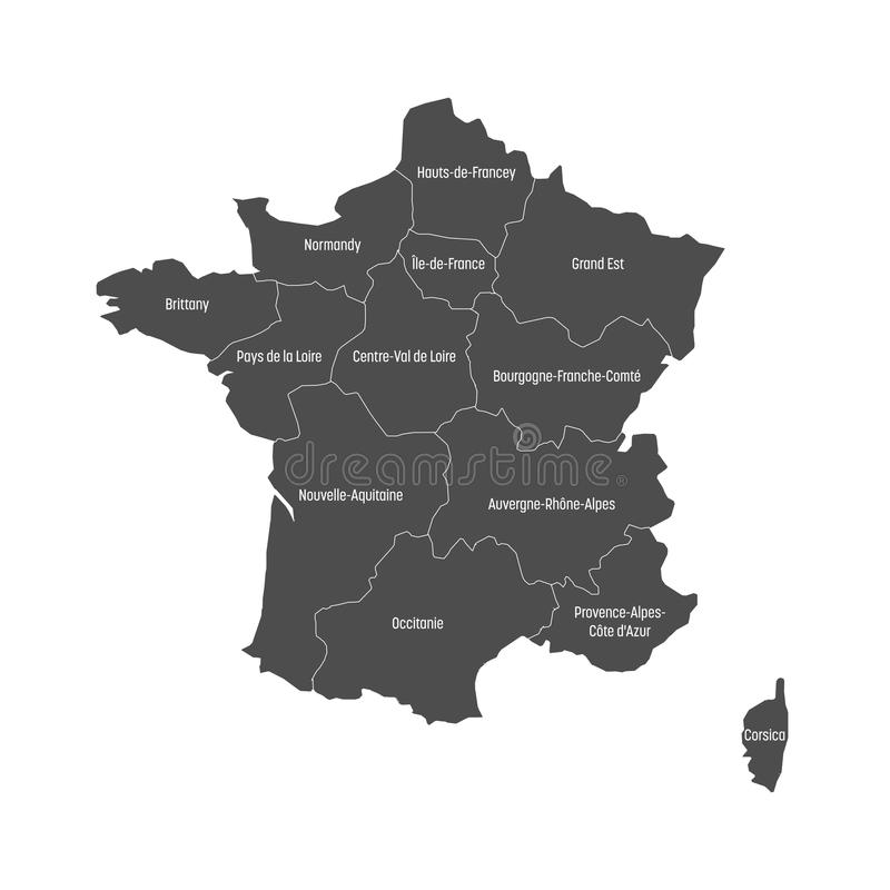 Grey Map Of France Divided Into 13 Administrative Metropolitan