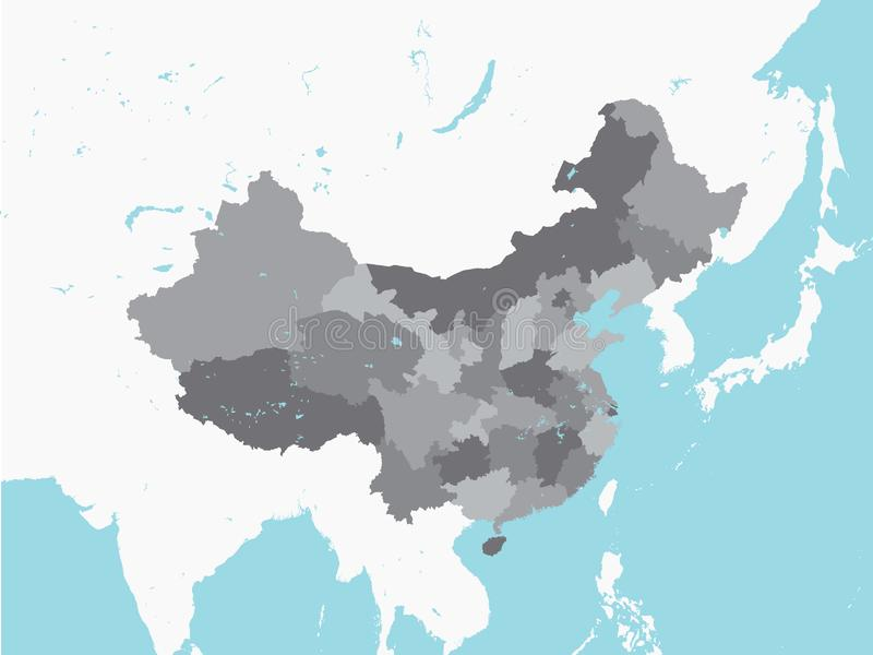 Grey Map of Regions of China with Surrounding Terrain. Vector Illustration of the Grey Map of Regions of China with Surrounding Terrain vector illustration