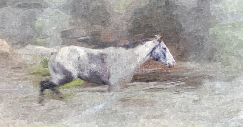 Grey Mare-Verwilderung - Malerei lizenzfreies stockbild