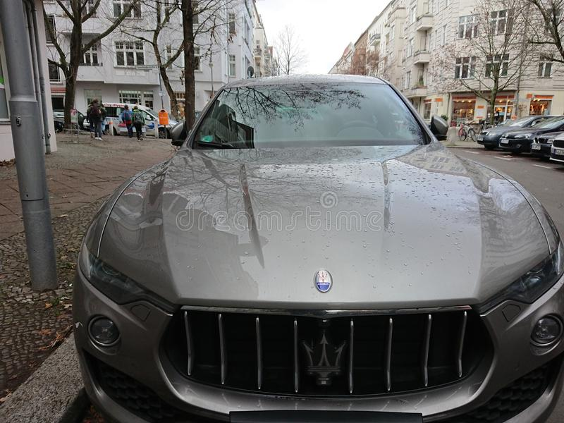 Grey Maserati Car With Trident Logo Editorial Image - Image of land ...