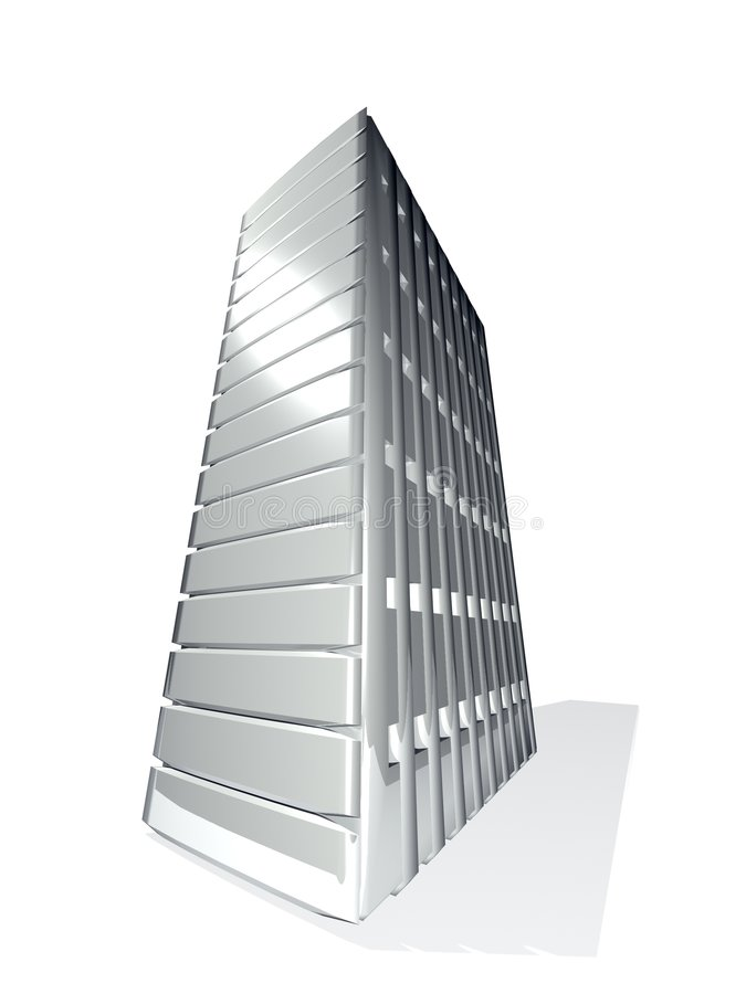 Grey metal 3D server tower vector illustration