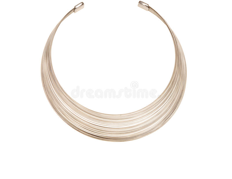 Grey metal round necklace royalty free stock image