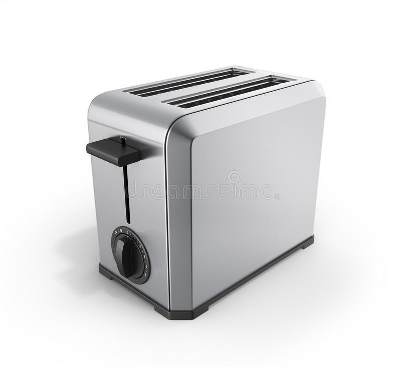 Grey metal toaster isolated on white background 3d royalty free illustration