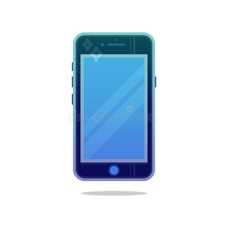 Grey mobile phone with blue screen vector eps10. Smartphone logo. Classic style smartphone. Mobile phone logo or sign. royalty free illustration