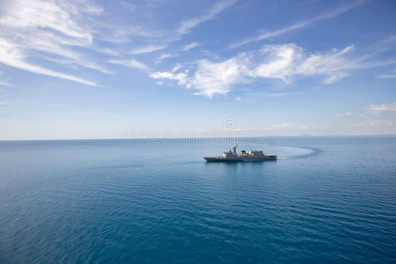 Grey modern warship helicopter view.  royalty free stock images