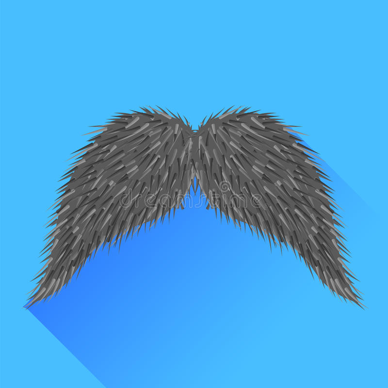 Grey Mustache. On Blue Background. Long Shadow stock illustration