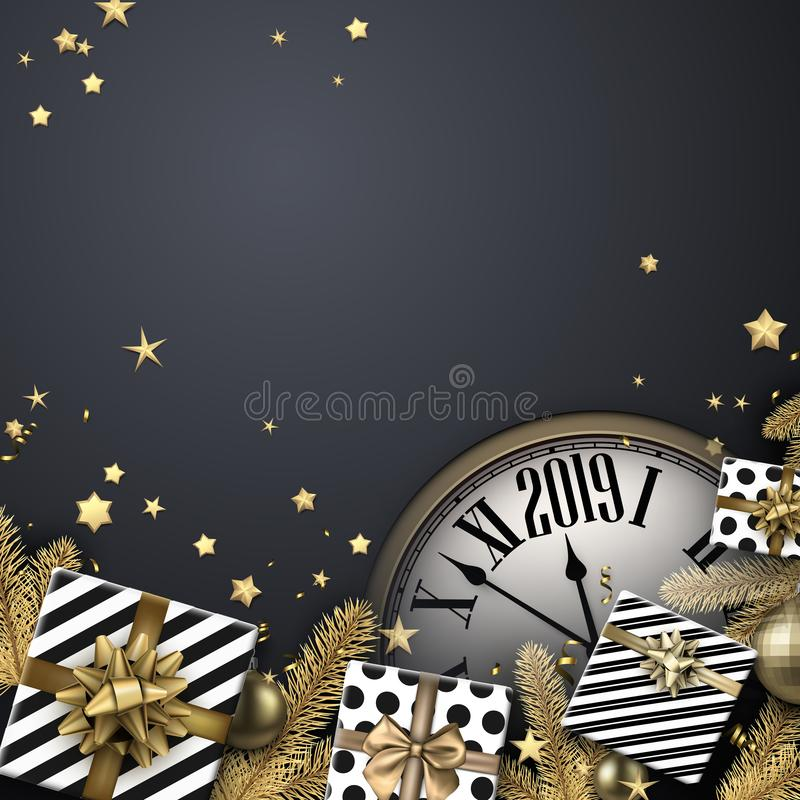 Grey 2019 New Year background with gifts and clock. Top view car royalty free illustration