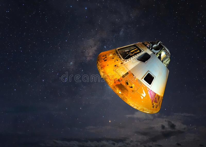 Grey And Orange Spaceship royalty free stock photography