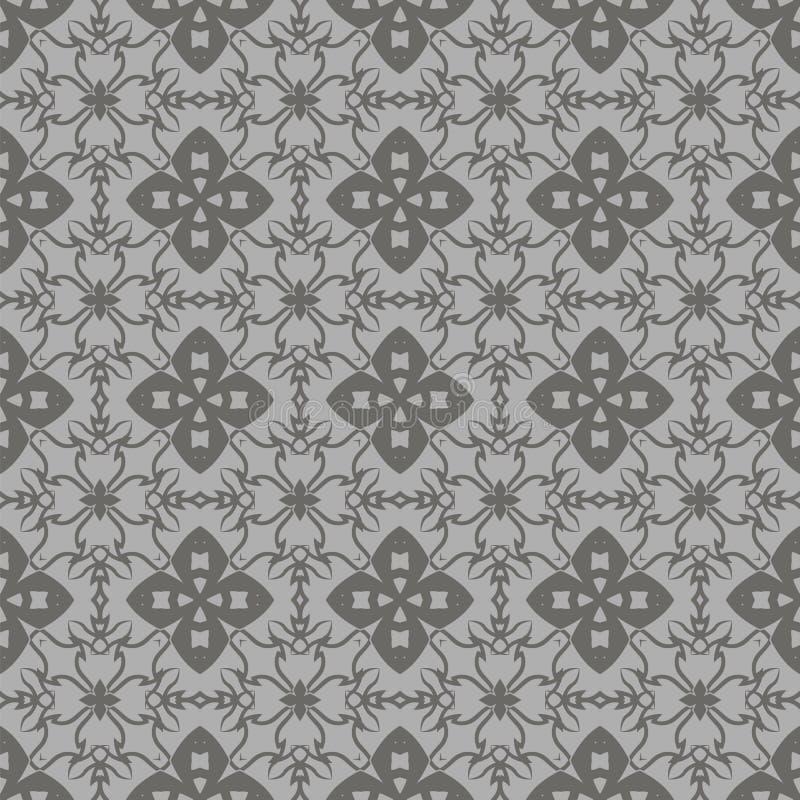Grey Ornamental Seamless Line Pattern royaltyfri illustrationer