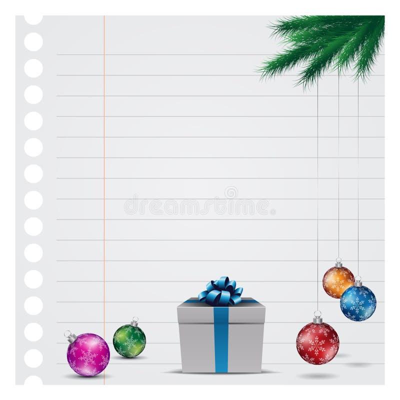 Grey Paper Christmas Background con las bolas coloridas brillantes Vecto libre illustration