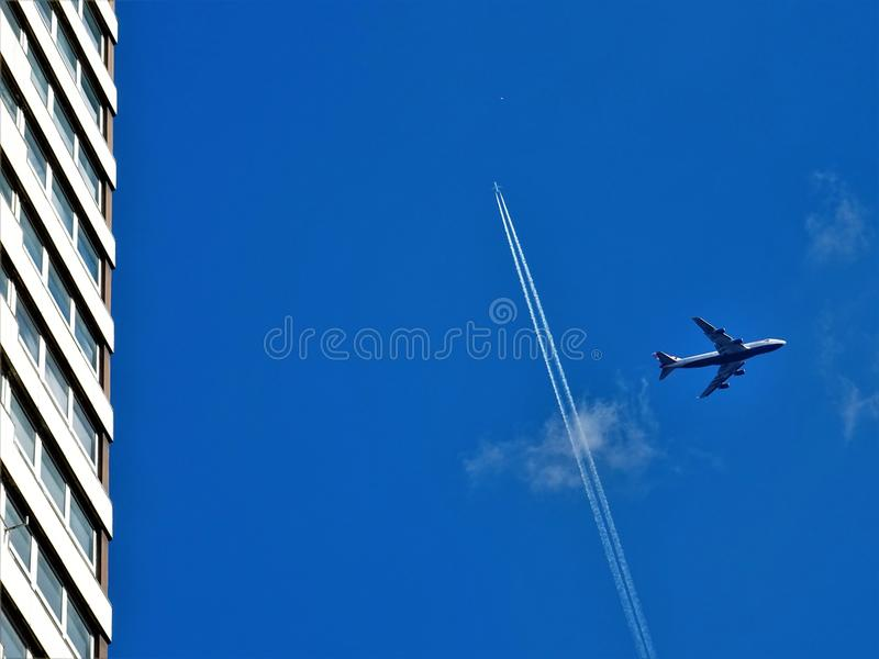 Grey Passenger Plane on Sky at Daytime stock image