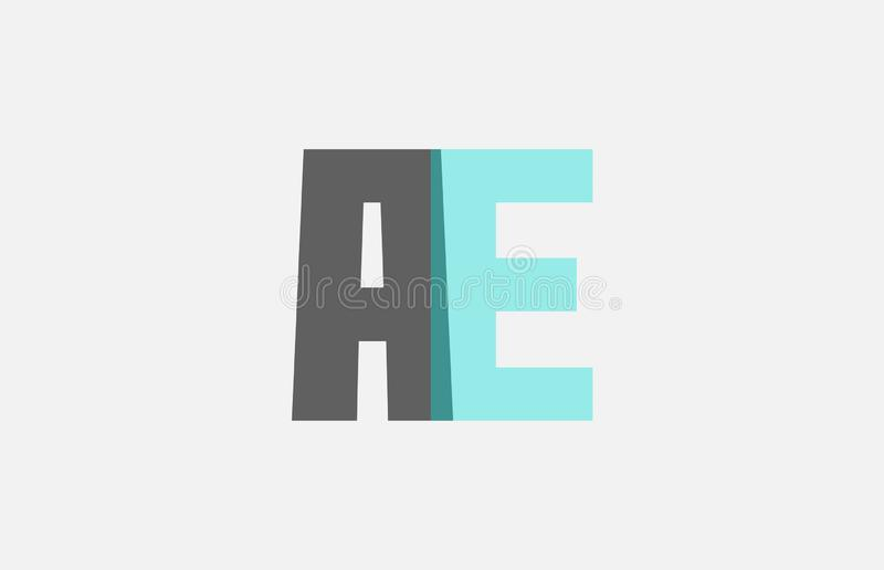 Grey pastel blue alphabet letter combination AE A E for logo icon design. Grey pastel blue alphabet letter AE A E logo combination design suitable for a company stock illustration