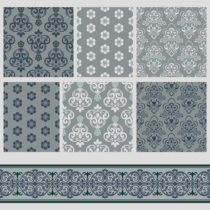 Grey patterns with floral ornaments vector illustration