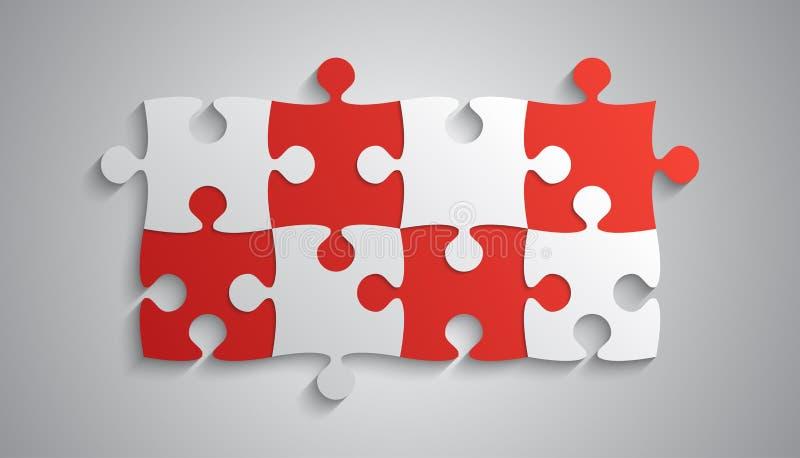 Grey Piece Puzzle Rectangle Banner rojo Rompecabezas libre illustration