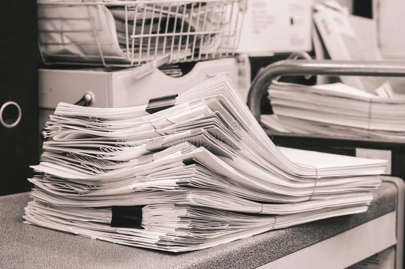 Grey Pile of Papers stock photography