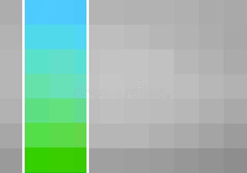 Grey and white pixel squares with stripe of green and blue ombre effect squares, colourful and tonal design ideal for a web banner. Grey pixel squares with a royalty free stock photos