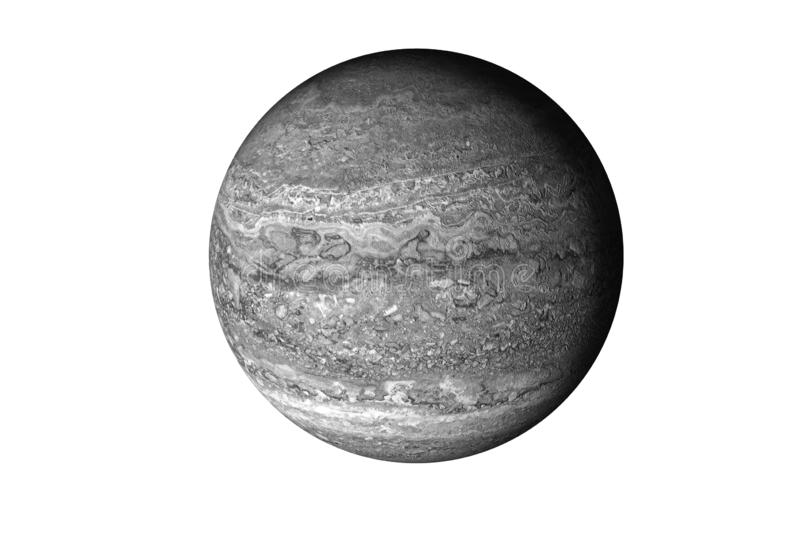 Grey planet with rock surface in the space isolated on white. No life concept. Science fiction. Elements of this image were furnished by NASA stock photography
