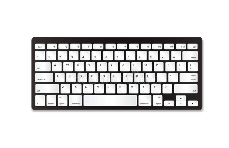 Grey plastic keyboard with white buttons. stock photography